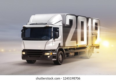 3d illustration of white truck with 2019 on ice road in blizzard