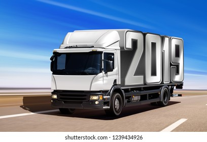3d illustration of white truck like incoming year 2019 moving on road