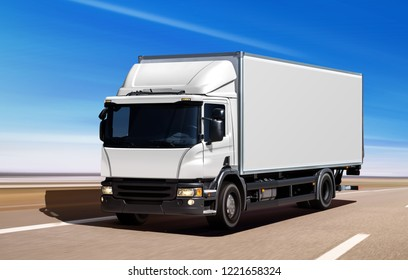 3D illustration of white truck moving on freeway in sunny summer day
