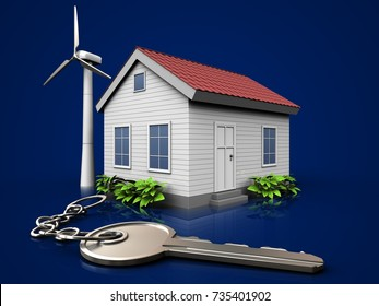 3d illustration of wind energy house with key over dark blue background