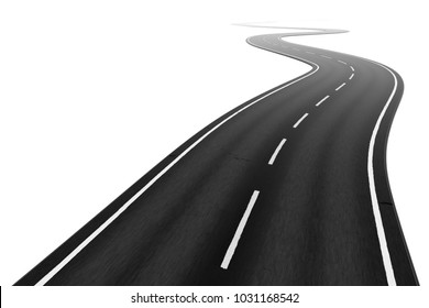 3d illustration of a winding road on a white background