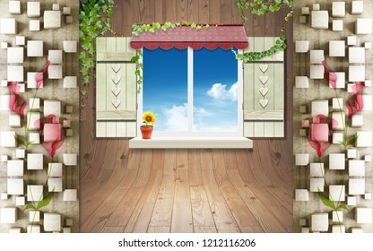 3d illustration, window with shutters in a wooden wall, cubes, sunflower on the windowsill, ivy around the window