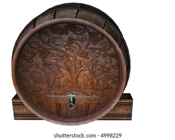 3D illustration of a wine barrel