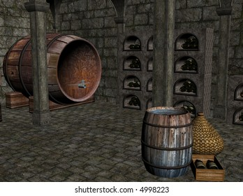 3D illustration of a wine cellar