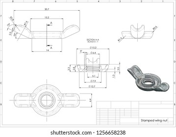 3d illustration of wing nut above engineering drawing