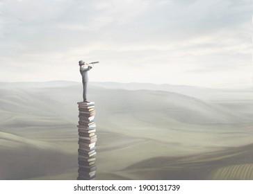 3D Illustration des Weisen mit Ferngläsern auf einem Turm aus Büchern, surreal Konzept