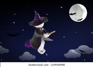 3d illustration witch with flying broom halloween