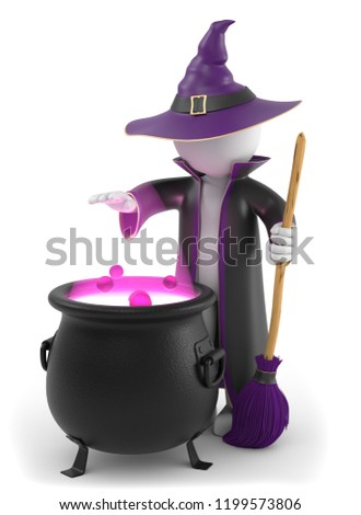 3D Illustration Witch Halloween As A Cut Out
