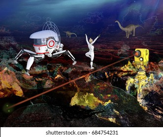 3D illustration of of a woman astronaut on a strange planet