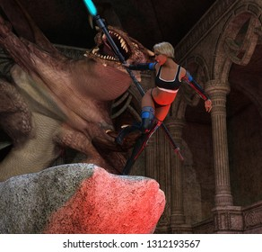 3D Illustration of a Woman Chased by a Dragon