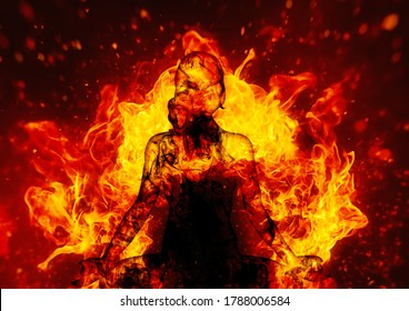 3D illustration of a woman meditating wrapped in flames