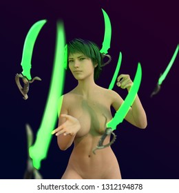 3D Illustration of a Woman Moving Blades by Magic
