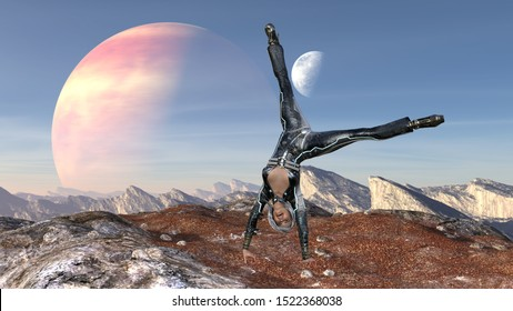 3d Illustration of woman on an alien doing a handstand and a cartwheel with a large planet and moon in the background.