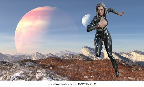 3d Illustration of woman on an alien world running forward with a large planet and moon in the background.