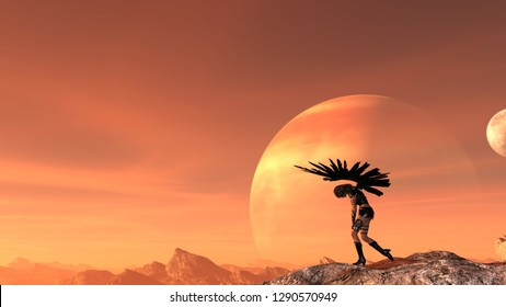 3d illustration of a woman with outstretched wings holding knives slumped over in despair with a moon and planet and red sky in the background.