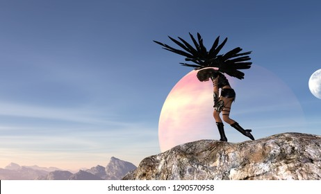 3d illustration of a woman with outstretched wings holding knives slumped over in despair with a moon and planet in the background.