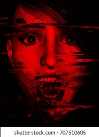 3d illustration of woman screaming in the dark with glitch effect,Horror movie concept design
