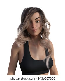 3d illustration of a woman in a sports bra with puckered lips on a white background.