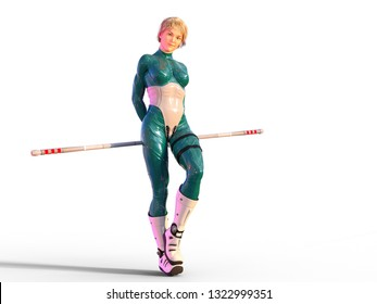 3D Illustration of a Woman with a Staff