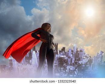 3D Illustration of woman in superhero costume