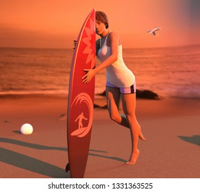 3D Illustration of a Woman Surfer on a Beach