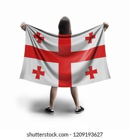 3d illustration. Women and Georgian flag
