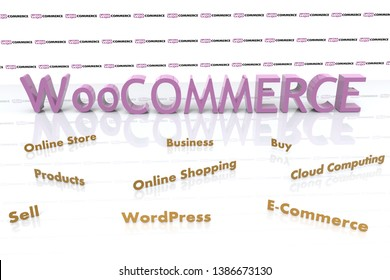 3D illustration of WooCommerce and several elements involved in it like Cloud Computing, E-Commerce, Buy, Sell, Business, WordPress, Online Shopping, Online Store, and Products.