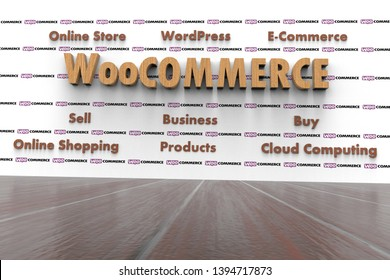 3D illustration of WooCommerce and several elements involved in it like Cloud Computing, E-Commerce, Buy, Sell, Business, WordPress, Online Shopping, Online Store, Products. Dark wood texture.