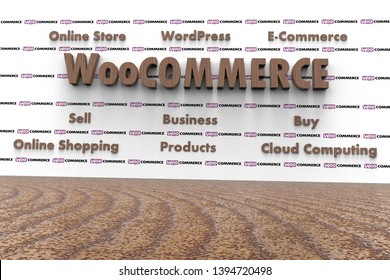 3D illustration of WooCommerce and several elements involved in it like Cloud Computing, E-Commerce, Buy, Sell, Business, WordPress, Online Shopping, Online Store, Products. Very dark wood texture.