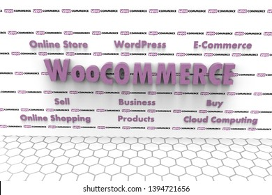 3D illustration of WooCommerce and several elements involved in it like Cloud Computing, E-Commerce, Buy, Sell, Business, WordPress, Online Shopping, Online Store, Products. Purple text on white wall.