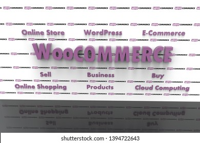 3D illustration of WooCommerce and several elements involved in it like Cloud Computing, E-Commerce, Buy, Sell, Business, WordPress, Online Shopping, Online Store, Products. Black reflective floor.