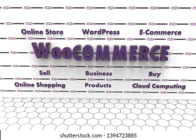 3D illustration of WooCommerce and several elements involved in it like Cloud Computing, E-Commerce, Buy, Sell, Business, WordPress, Online Shopping, Online Store, Products. Darker purple text color.