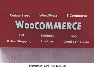 3D illustration of WooCommerce and several elements involved in it like Cloud Computing, E-Commerce, Buy, Sell, Business, WordPress, Online Shopping, Online Store, Products. Silver text on red wall.