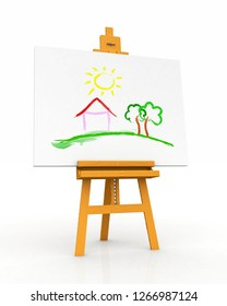 3D Illustration - wood easel with canvas and painted landscape