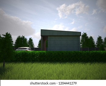 3d illustration wooden country house