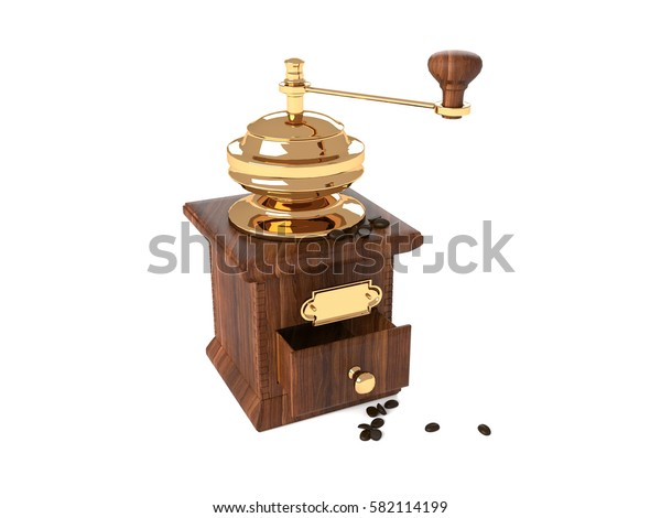 3d illustration of wooden hand coffee grinder with a gold pen.