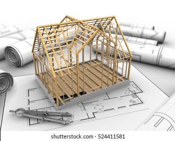 3d illustration of wooden house frame over house plan background with circle tool