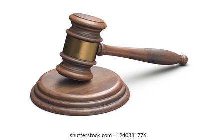 3D illustration of Wooden Judge Gavel isolated on white background