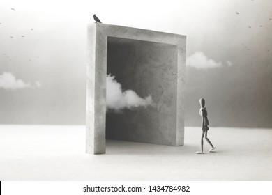 3D illustration, wooden model walking through a magical surreal door