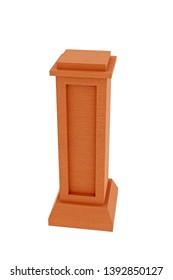 3d Illustration of wooden socle