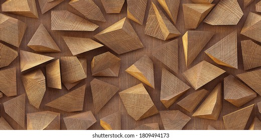 3d illustration. Wooden triangles on a background of wood. Abstract low poly background. Polygonal shapes background, low poly triangles mosaic, geometric shape with wood texture. render