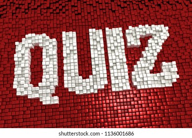 3d illustration of the word quiz made from cubes in mosaic pattern and pixel style