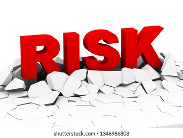 3d illustration of word text risk appearing from cracked broken ground plane