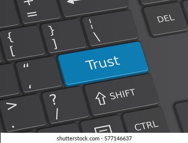 A 3D illustration of the word Trust written on a blue key from the keyboard
