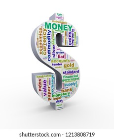 3d Illustration of wordcloud dollar currency symbol sign made up of words tags