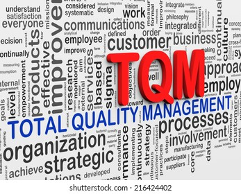 3d Illustration of wordcloud word tags of tqm - total quality management