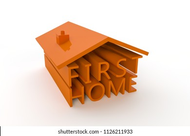 A 3d illustration with the words First Home formed into a house shape.