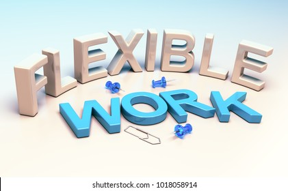 3D illustration words flexible work and office supplies. Concept of workplace flexibility.