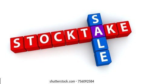 3D illustration of the words Stocktake and Sale in crossword form made from cubes.