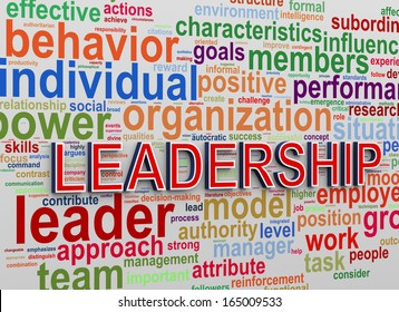 3d Illustration of Worldcloud word tags of concept of leadership and success